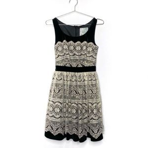 Modcloth Geode Every Gilded Moment Velvet & Metallic Lace Party Dress
